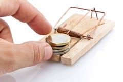 pieniądze mousetrap fotografia stock