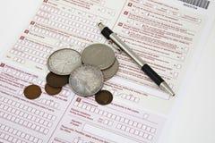 Pieniądze na podatek deklaraci Zdjęcia Royalty Free