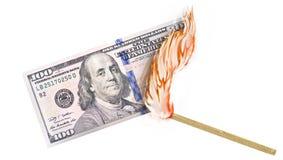 Pieniądze oparzenie Fotografia Stock