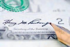 pieniądze podpis Zdjęcia Stock