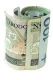 pieniądze polskie zwoju Fotografia Stock