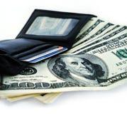 pieniądze skórzany portfel. Zdjęcia Stock