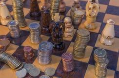 Pieniądze szachy Fotografia Royalty Free