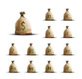 Pieniądze torby z waluta symbolami Zdjęcie Stock