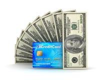 Pieniądze transakcje - rachunki i kredytowa karta Fotografia Stock
