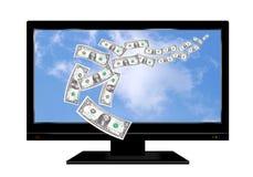 pieniądze tv Fotografia Stock