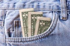 Pieniądze w cajg kieszeni Fotografia Royalty Free