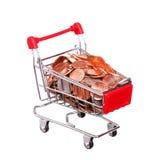 Pieniądze w wózek na zakupy Na bielu Zdjęcie Royalty Free