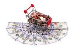 Pieniądze w wózek na zakupy Na bielu Fotografia Stock