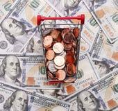 Pieniądze w wózek na zakupy Na dolarach Zdjęcia Royalty Free