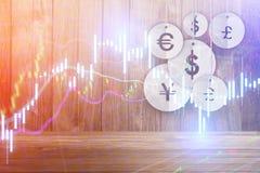 Pieniądze waluty symbolu obwieszenie na drewnianym tle Zdjęcie Stock