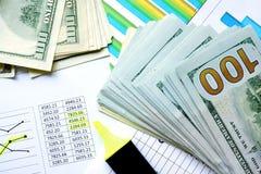 Pieniądze z kolorowymi mapami i markierem Zdjęcie Stock