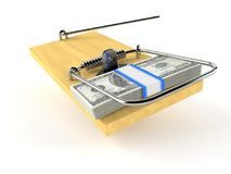 Pieniądze z mousetrap Fotografia Royalty Free