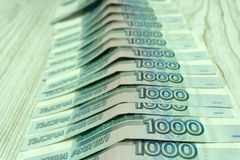 Pieniądze pieniądze znaków rosyjska banknotesRussian moneta Fotografia Royalty Free