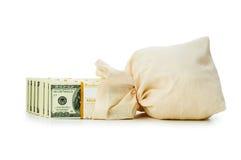 pieniędzy odosobneni worki Zdjęcie Stock