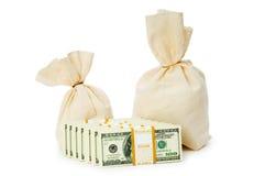 pieniędzy odosobneni worki Zdjęcia Stock
