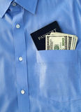 pieniądze amerykański paszport Zdjęcia Royalty Free