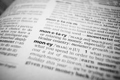 pieniądze makro- słowo Obrazy Royalty Free