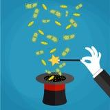 Pieniądze out kapeluszowy magicznej sztuczki pojęcie Zdjęcie Stock
