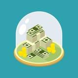 Pieniądze pod szklanym Bell Przejrzysta kopuła dla finanse chronienie Fotografia Stock