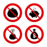 Pieniądze torby ikony Portfla i prosiątko banka symbole Zdjęcie Stock