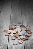 Pieniądze Ukuwa nazwę Drewnianego tło Obrazy Royalty Free