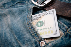 Pieniądze w kieszeni Zdjęcie Stock