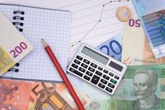 Pieniądze waluty kalkulatora wzrostowej krzywy Europejska wymiana Zdjęcia Royalty Free