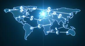 Pieniądze światowy ruch drogowy Zdjęcie Royalty Free