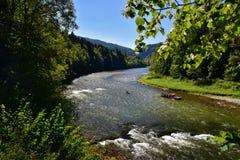 Pieniny山河Dunajec美丽的景色  库存照片