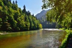 Pieniny山河Dunajec美丽的景色  免版税库存照片