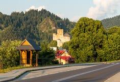 Pieniny.  Niedzica Castle at the setting sun. Pieniny mountain.  Niedzica Castle at the setting sun stock image
