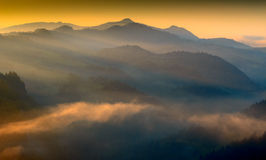 Pieniny Spring Misty Dawn Royalty Free Stock Photo