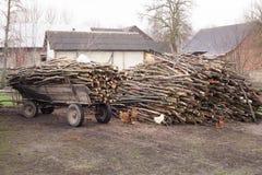 in pieno del carretto antiquato tagliato degli agricoltori della legna da ardere a Poland& x27; vita rurale della campagna di s Fotografia Stock