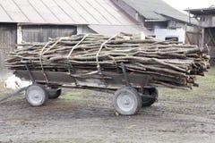 in pieno del carretto antiquato tagliato degli agricoltori della legna da ardere a Poland& x27; vita rurale della campagna di s Immagini Stock