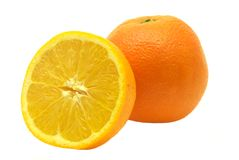 In pieno ed a metà arancio Immagini Stock