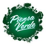Piensa Verde - Think Green Spanish text. Organic Bio sphere With vegetation Royalty Free Stock Photo