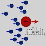 Piense diferentemente el concepto con el ion positivo libre illustration
