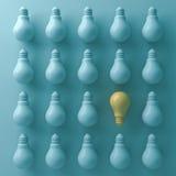 Piense diverso concepto, un bulbo de la luz ámbar se destacan de las bombillas incandescentes verdes unlit con la sombra y la som ilustración del vector