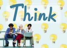 Piense el concepto atractivo de pensamiento de la inspiración pensativa fotografía de archivo