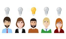 Piense el diseño de concepto del hombre de negocios de la gente en el ejemplo blanco, común del vector stock de ilustración