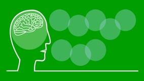 Piense el ejemplo verde, animado en la línea estilo del arte, cabeza con el cerebro de pulsación, letras coloridas en los círculo stock de ilustración