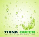 Piense el fondo verde del agua Fotografía de archivo