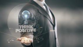 Piense el positivo con concepto del hombre de negocios del holograma del bulbo stock de ilustración