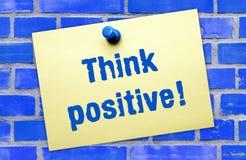 Piense el signo positivo Foto de archivo libre de regalías