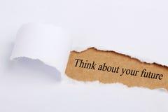Piense en su futuro Imagen de archivo libre de regalías