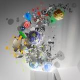 Piense fuera de la caja como concepto creativo ilustración del vector