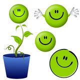 Piense los personajes de dibujos animados sonrientes verdes de la cara Fotografía de archivo