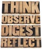 Piense, observe, digiera, refleje foto de archivo