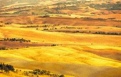 Pienza, сельский ландшафт захода солнца. Ферма сельской местности и зеленое поле Стоковые Изображения
